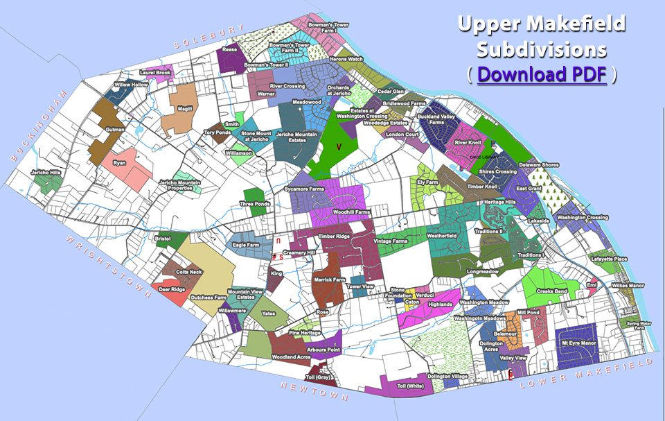 map of upper makefield subdivisions