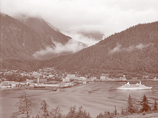 Looking Northeast from Douglas Island, across the Gastineau Channel.