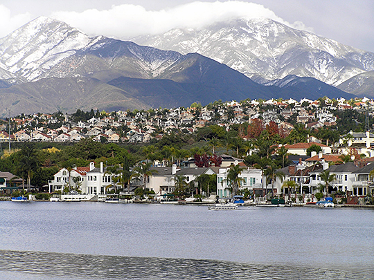 Looking across Lake Mission Viejo with Saddleback Mountains in the background.