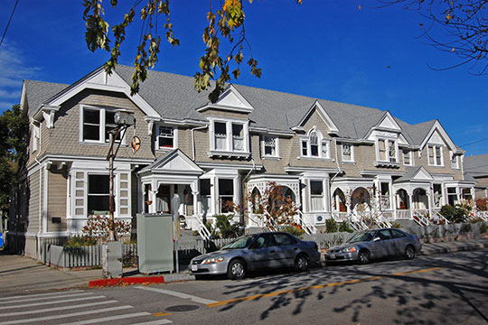 Cope Row Houses, ca. 1894, 412-420 Lincoln Street, Downtown Historic District, Santa Cruz, CA, National Register