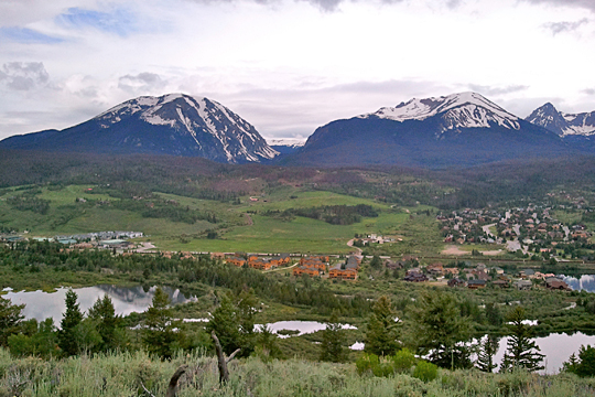 A view of Silverthorne, Colorado, from atop a nearby mountain.