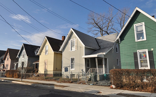 A row of cottages on Cottage Place, ca. 1881, (William D. Bishop Cottage Development Historic District), Bridgeport, CT, National Register
