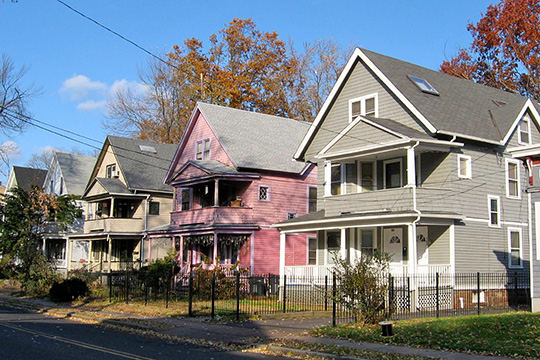 Homes on South Whitney Street, ca. 1905 and 1907, Sisson-South Whitney Historic District, Hartford, CT., National Register