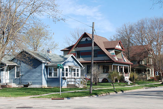 Homes on 2nd Avenue SE, Old Fourth Ward SE Historic District, Waverly, IA.