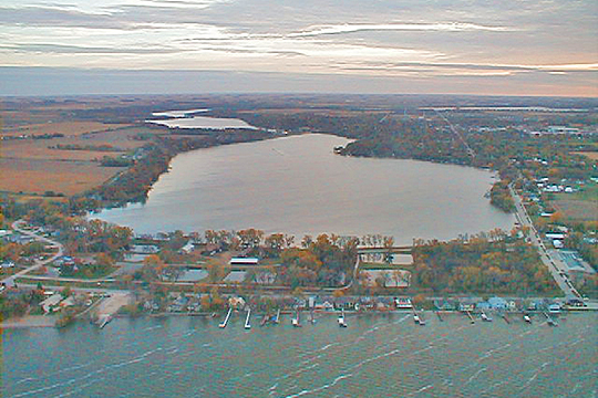 City of Spirit Lake looking south from over Spirit Lake towards the city on the west shore of East Okoboji Lake