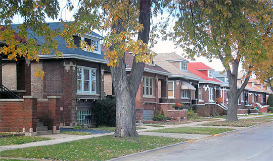 Brick Chicago-style bungalows in the Central Berwyn Bungalow Historic District, Berwyn, IL, National Register
