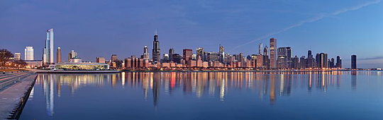Chicago skyline at sunrise