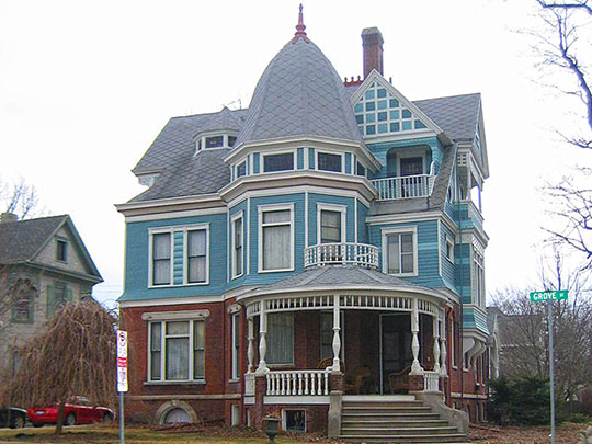 George H. Cox House, ca. 1886, 701 East Grove Street, Bloomington, IL, National Register