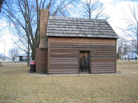 John Patton Log Cabin, ca. 1829, Lexington Park, Lexington, IL, National Register