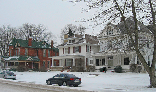 Houses on East Clinton Avenue, ca. 1885 & 1910, Christian Ridge Historic District, Frankfort, IN, National Register