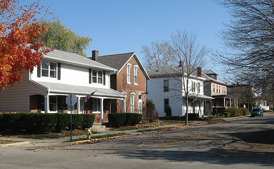 Homes on Brown Street, Jefferson Historic District, Lafayette, IN, National Register