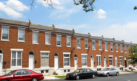 Row houses at Lanvale & Washington Streets, Baltimore East-South Clifton Park Historic District, Baltimore, MD, National Register
