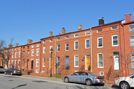 Row houses in the Barre Circle Historic District, Baltimore, MD, National Register