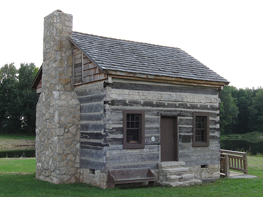 Collins Log Cabin, ca. 1818, Columbia, Boone County, MO, National Register