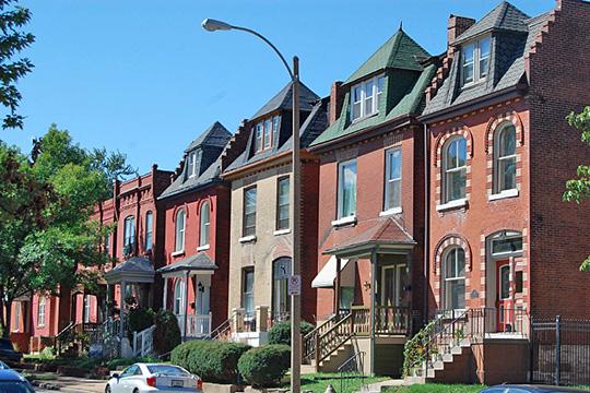 Streetscape, homes ca, 1890s, Nebraska Avenue, Tower Grove East Historic District, St. Louis, MO, National Register