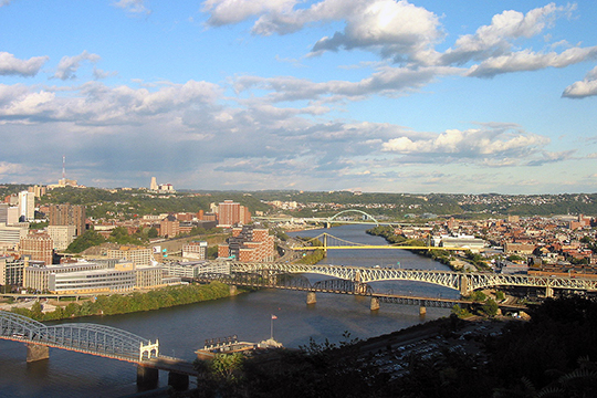 Looking upstream along the Monongahela River from Mount Washington in Pittsburgh, PA