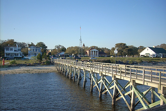 A view of Southport from the pier at Waterfront Park