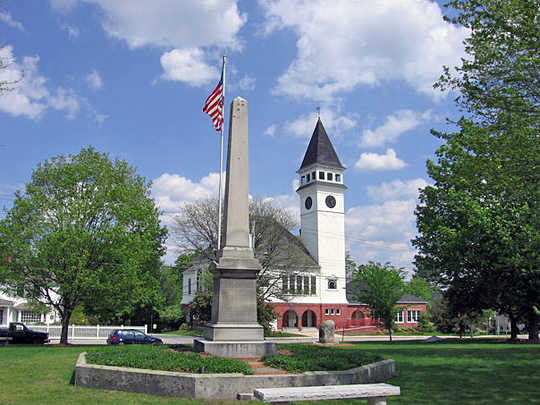 Monument Square with Town Hall in the Background, Hollis, NH