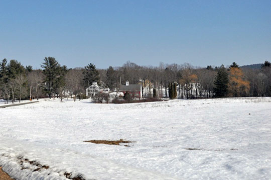 View across the fields to Jewell Town village in South Hampton, NH.