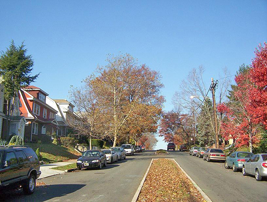 Residential street in the Weequahic neighborhood, Newark, NJ.