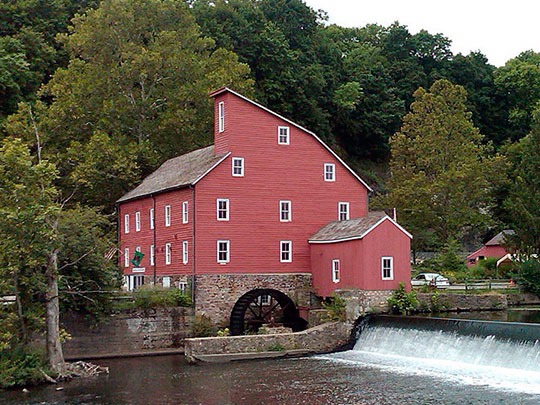 The Red Mill, ca. 1810, South Branch of the Raritan River, Clinton, NJ.