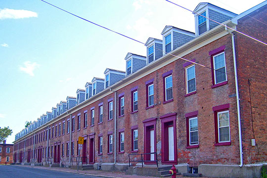 Homes along the west side of Olmstead Street, Olmstead Street Historic District, Cohoes, NY, National Register