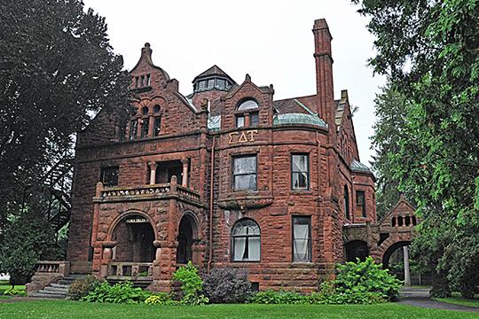 Elisha Morgan House, ca. 1916, Main Street and Reynolds Avenue, Tompkins-Main Streets Historic District, Cortland, NY, National Register