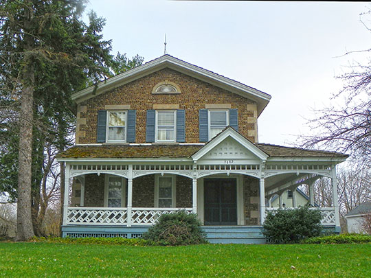 Barnard Cobblestone House, ca. 19th century, 7192 West Main Street, Lima, NY, National Register