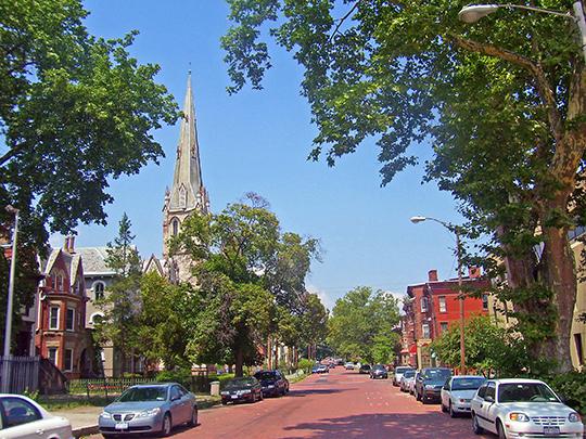 Liberty Street scene, Montgomery-Grand-Liberty Streets Historic District, Newburgh, NY, National Register