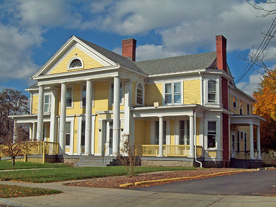George W. Hallock House, The Pillars, ca. 1847, 16 West William Street, Bath, NY, National Register