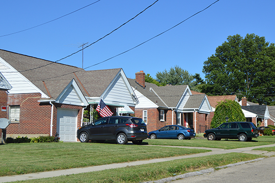 Houses on the northern side of Orchard Lane just east of the Blue Ash Road intersection in Deer Park, Ohio