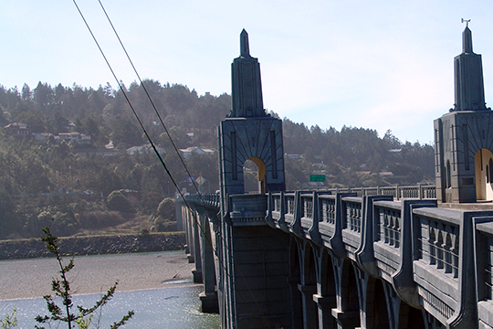 Hillside homes overlooking the Rogue River and the Isaac Lee Patterson Bridge, Gold Beach, OR