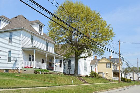Homes along Main Street, Rural Valley, PA.