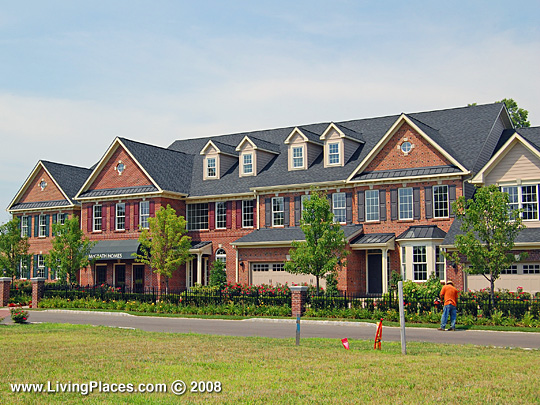Townhomes in the Delancey Court neighborhood, Newtown Township, Bucks County, Pennsylvania