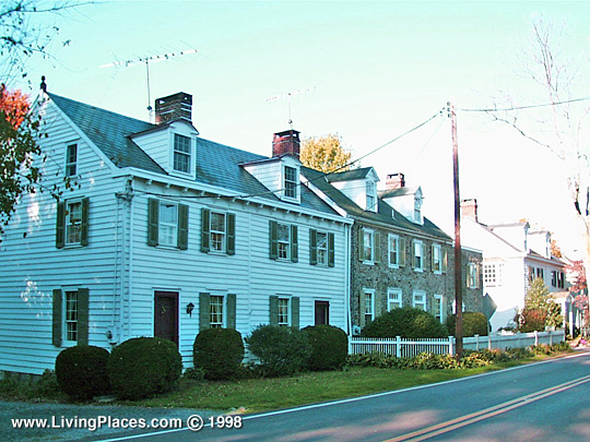 Homes along west side of River Road, Brownsburg Village Historic District, Upper Makefield, Bucks County, PA, National Register