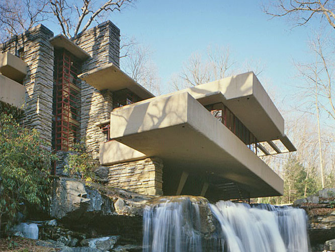 Fallingwater (Edgar J. Kaufmann House), ca. 1939, Route 381, Stewart Township, Fayette County, PA, National Register