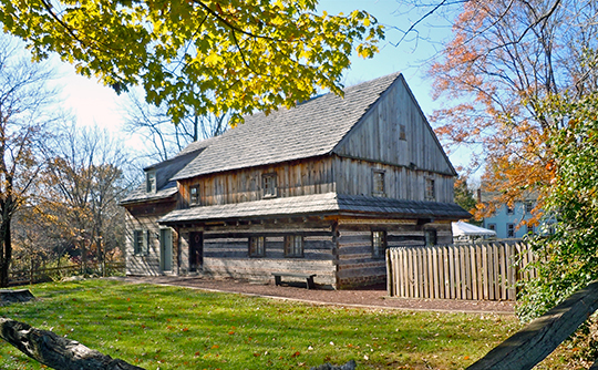 Edward Morgan Log House, ca. 1700, Weikel Road, Kulpsville (Towamencin Township), PA, National Register