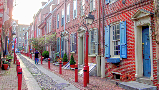 Elfreth's Alley, the oldest residential street in the United States, Philadelphia, PA, National Register
