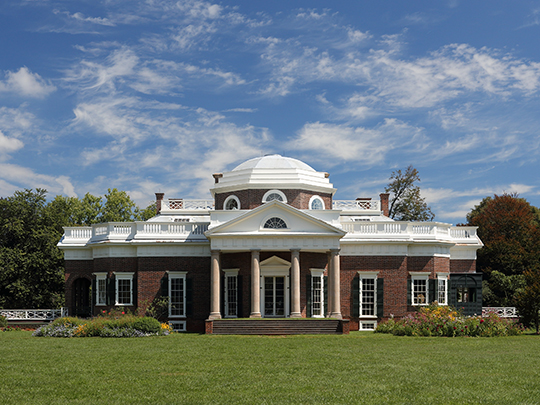 Monticello, ca. 1772, Charlottesville, VA. Plantation home of Thomas Jefferson, national Register