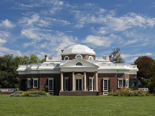 Monticello, ca. 1772, Charlottesville, VA. Plantation home of Thomas Jefferson, national Register