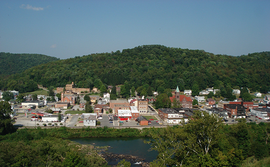 Philippi WV from across the Tygart River Valley.