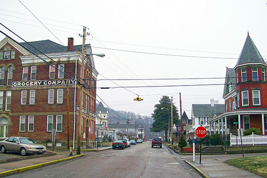 Street View from North and Maple Streets, North Street Historic District, New Martinsville, WV, National Register